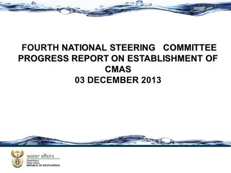 NATIONAL STEERING COMMITTEE FOURTH NATIONAL STEERING COMMITTEE PROGRESS REPORT ON ESTABLISHMENT OF CMAS 03 DECEMBER 2013.