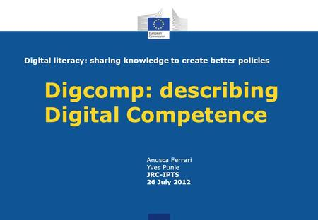 Digcomp: describing Digital Competence