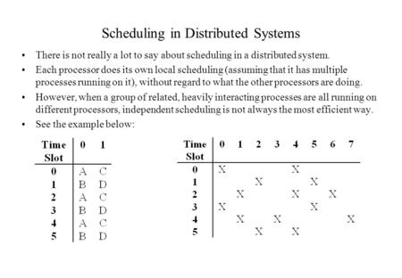 Scheduling in Distributed Systems There is not really a lot to say about scheduling in a distributed system. Each processor does its own local scheduling.