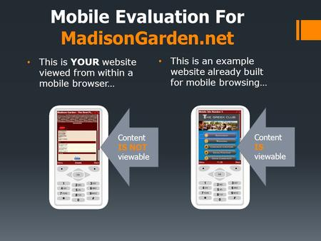 This is YOUR website viewed from within a mobile browser… This is an example website already built for mobile browsing… Mobile Evaluation For MadisonGarden.net.