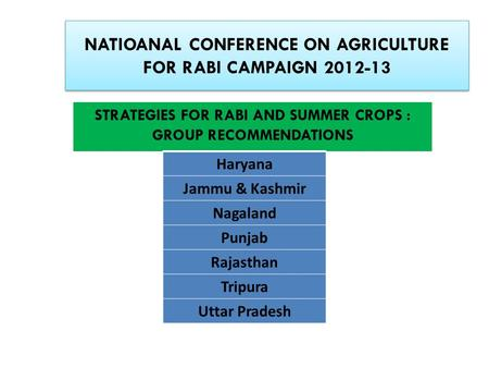 NATIOANAL CONFERENCE ON AGRICULTURE FOR RABI CAMPAIGN 2012-13 STRATEGIES FOR RABI AND SUMMER CROPS : GROUP RECOMMENDATIONS Haryana Jammu & Kashmir Nagaland.