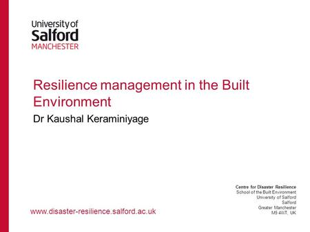 Resilience management in the Built Environment