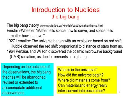 Nuclides1 Introduction to Nuclides the big bang The big bang theory www.uwaterloo.ca/~cchieh/cact/nuctek/universe.html Einstein-Wheeler: Matter tells.