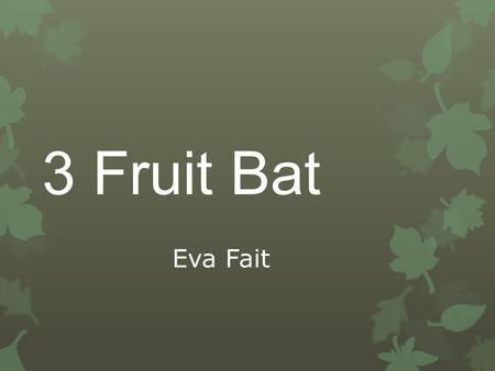 3 Fruit Bat Eva Fait. Introduction  10 years experience  Early Stage 1, Stage 1, Stage 2  Reading Recovery - 3 years  Literacy Support - 2 years.