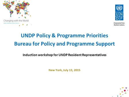DRAFT FOR DISCUSSION ONLY Revised January 9, 2015 UNDP Policy & Programme Priorities Bureau for Policy and Programme Support Induction workshop for UNDP.