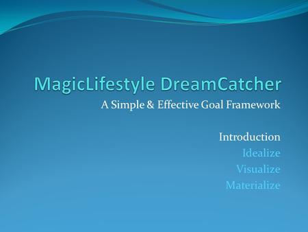 A Simple & Effective Goal Framework Introduction Idealize Visualize Materialize.