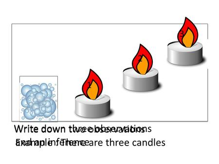 1 2 3 Write down three observations and an inference Write down two observations Example : There are three candles.