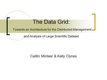 The Data Grid: Towards an Architecture for the Distributed Management and Analysis of Large Scientific Dataset Caitlin Minteer & Kelly Clynes.