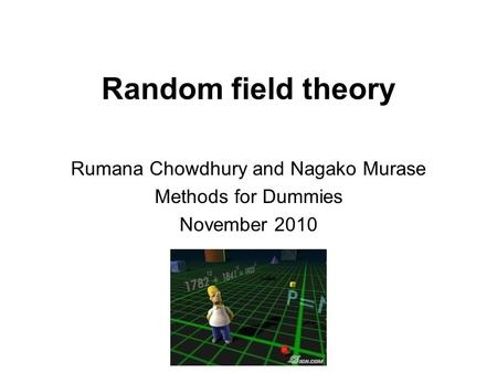 Random field theory Rumana Chowdhury and Nagako Murase Methods for Dummies November 2010.