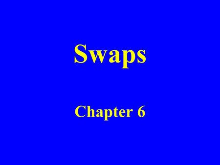 Swaps Chapter 6. Nature of Swaps A swap is an agreement to exchange cash flows at specified future times according to certain specified rules.