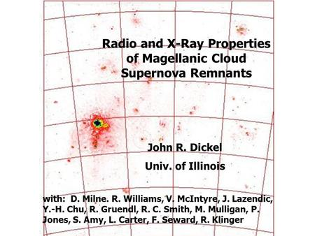 Radio and X-Ray Properties of Magellanic Cloud Supernova Remnants John R. Dickel Univ. of Illinois with: D. Milne. R. Williams, V. McIntyre, J. Lazendic,