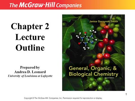 1 Copyright © The McGraw-Hill Companies, Inc. Permission required for reproduction or display. Chapter 2 Lecture Outline Prepared by Andrea D. Leonard.