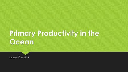 Primary Productivity in the Ocean Lesson 13 and 14.