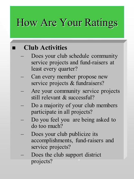 How Are Your Ratings Club Activities Club Activities –Does your club schedule community service projects and fund-raisers at least every quarter? –Can.