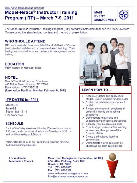 Model-Netics® Instructor Training Program (ITP) – March 7-9, 2011
