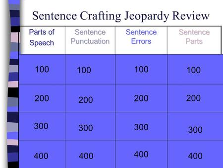 Sentence Crafting Jeopardy Review Parts of Speech Sentence Punctuation Sentence Errors Sentence Parts 100 200 300 400 100 200 300 100 200 400 100 200 400.