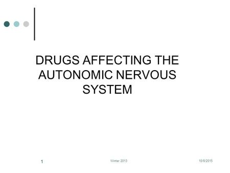 DRUGS AFFECTING THE AUTONOMIC NERVOUS SYSTEM 10/8/2015Winter 2013 11.