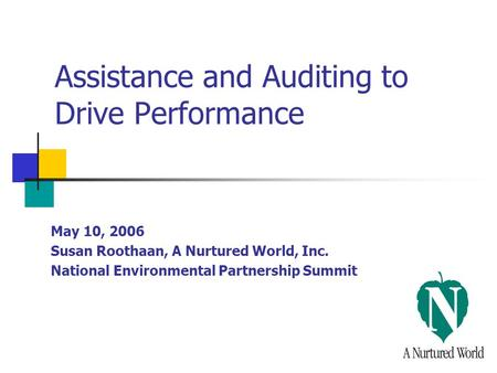 Assistance and Auditing to Drive Performance May 10, 2006 Susan Roothaan, A Nurtured World, Inc. National Environmental Partnership Summit.