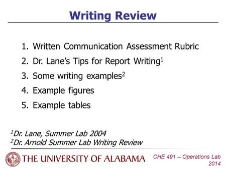 CHE 491 – Operations Lab 2014 Writing Review 1.Written Communication Assessment Rubric 2.Dr. Lane's Tips for Report Writing 1 3.Some writing examples 2.