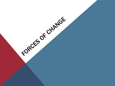 FORCES OF CHANGE. BELLWORK What causes the earth's surface to change over time? List as many things as you can think of.