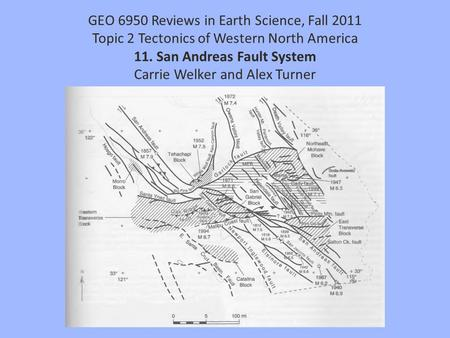 GEO 6950 Reviews in Earth Science, Fall 2011 Topic 2 Tectonics of Western North America 11. San Andreas Fault System Carrie Welker and Alex Turner.