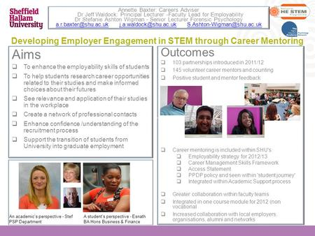 Developing Employer Engagement in STEM through Career Mentoring Aims  To enhance the employability skills of students  To help students research career.