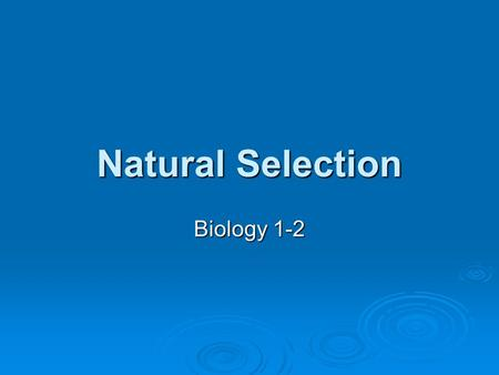 Natural Selection Biology 1-2. Natural Selection  The primary mechanism of evolution is natural selection. Natural selection-differential success in.