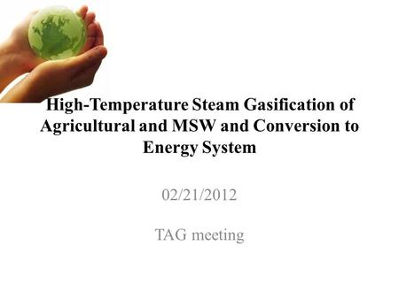 High-Temperature Steam Gasification of Agricultural and MSW and Conversion to Energy System 02/21/2012 TAG meeting.