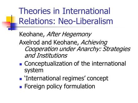 environmental theories in international relations International relations/environment and world politics from wikibooks, open books for an open world international relations this page may need to be reviewed for quality jump to: navigation, search international relations.