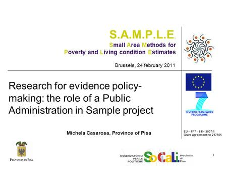 EU – FP7 - SSH-2007-1 Grant Agreement no 217565 1 S.A.M.P.L.E. Small Area Methods for Poverty and Living condition Estimates Brussels, 24 february 2011.