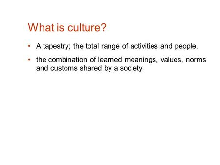 What is culture? A tapestry; the total range of activities and people. the combination of learned meanings, values, norms and customs shared by a society.