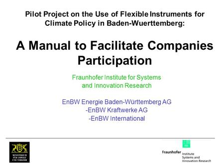 Pilot Project on the Use of Flexible Instruments for Climate Policy in Baden-Wuerttemberg: A Manual to Facilitate Companies Participation Fraunhofer Institute.