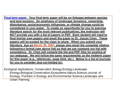 Help With  Ecology Term Paper
