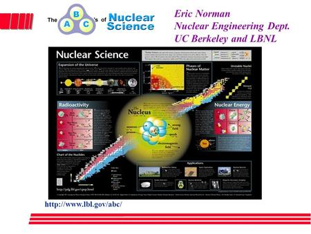 1 Eric Norman Nuclear Engineering Dept. UC Berkeley and LBNL