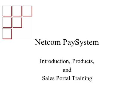 Netcom PaySystem Introduction, Products, and Sales Portal Training.