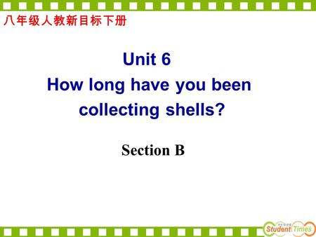 Section B 八年级人教新目标下册 Unit 6 How long have you been collecting shells?