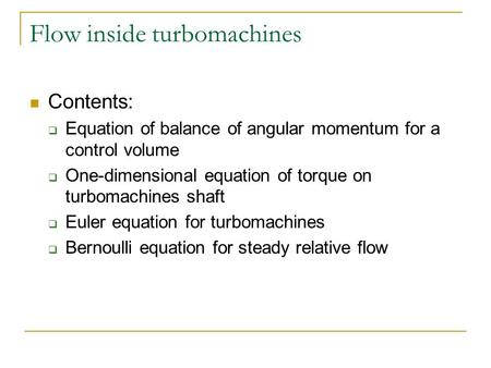Flow inside turbomachines