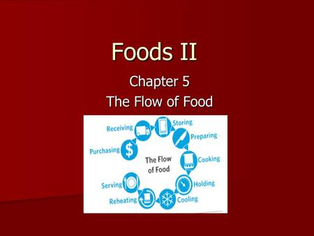 Foods II Chapter 5 The Flow of Food. Physical Barriers to Prevent Cross-Contamination Assign specific equipment to each type of food product Assign specific.