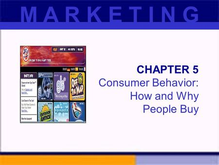 CHAPTER 5 Consumer Behavior: How and Why People Buy M A R K E T I N G.