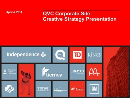 QVC Corporate Site Creative Strategy Presentation April 4, 2014 1.