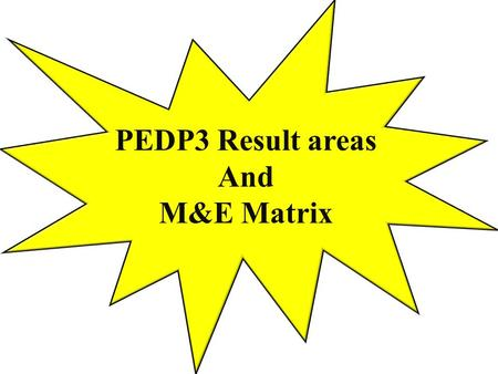 PEDP3 Result areas And M&E Matrix. PEDP3 Results areas KPIs PSQLs DLIs M&E Matrix Implementation processes and Responsibilities.