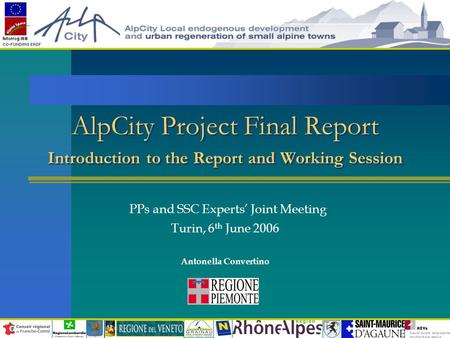 AlpCity Project Final Report Introduction to the Report and Working Session PPs and SSC Experts' Joint Meeting Turin, 6 th June 2006 Antonella Convertino.