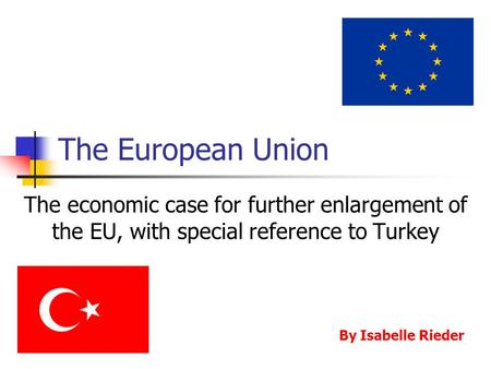 The European Union The economic case for further enlargement of the EU, with special reference to Turkey By Isabelle Rieder.