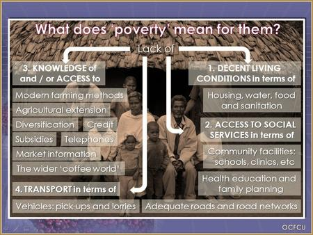 Lack of Housing, water, food and sanitation Community facilities: schools, clinics, etc Health education and family planning Modern farming methods The.