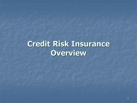 1 Credit Risk Insurance Overview 2 CREDIT RISK INSURANCE What It Is and Is Not What It Is and Is Not How Does It Help How Does It Help Underwriting Philosophies.