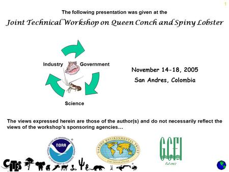 1 The following presentation was given at the Joint Technical Workshop on Queen Conch and Spiny Lobster November 14-18, 2005 San Andres, Colombia The views.