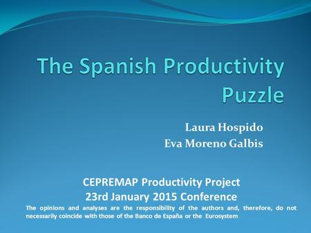 Laura Hospido Eva Moreno Galbis CEPREMAP Productivity Project 23rd January 2015 Conference The opinions and analyses are the responsibility of the authors.