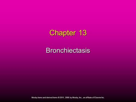 Chapter 13 Bronchiectasis
