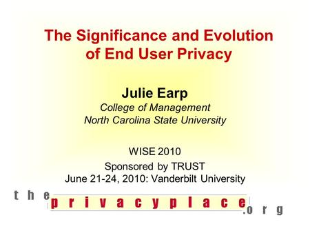 The Significance and Evolution of End User Privacy Julie Earp College of Management North Carolina State University WISE 2010 Sponsored by TRUST June 21-24,