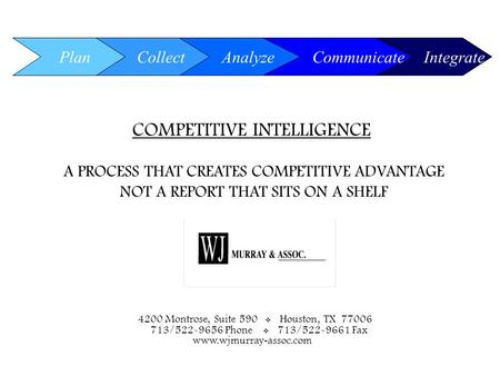 0 COMPETITIVE INTELLIGENCE A PROCESS THAT CREATES COMPETITIVE ADVANTAGE NOT A REPORT THAT SITS ON A SHELF Plan Integrate Collect Analyze Communicate 4200.